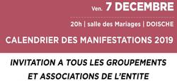 01/11 - Calendrier des Manifestations 2019 : Invitation à tous les associations et groupements de l'Entité