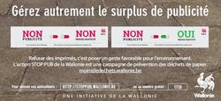 08/06 - La Wallonie met des autocollants « STOP PUB » à la disposition des communes et des particuliers