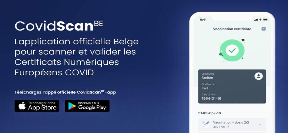 15/10 - CovidScanBE : l'application officielle Belge pour scanner et valider les Certificats Numériques Européens COVID