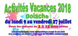 28/04 - Plaines de vacances 2018 : Informations et inscriptions