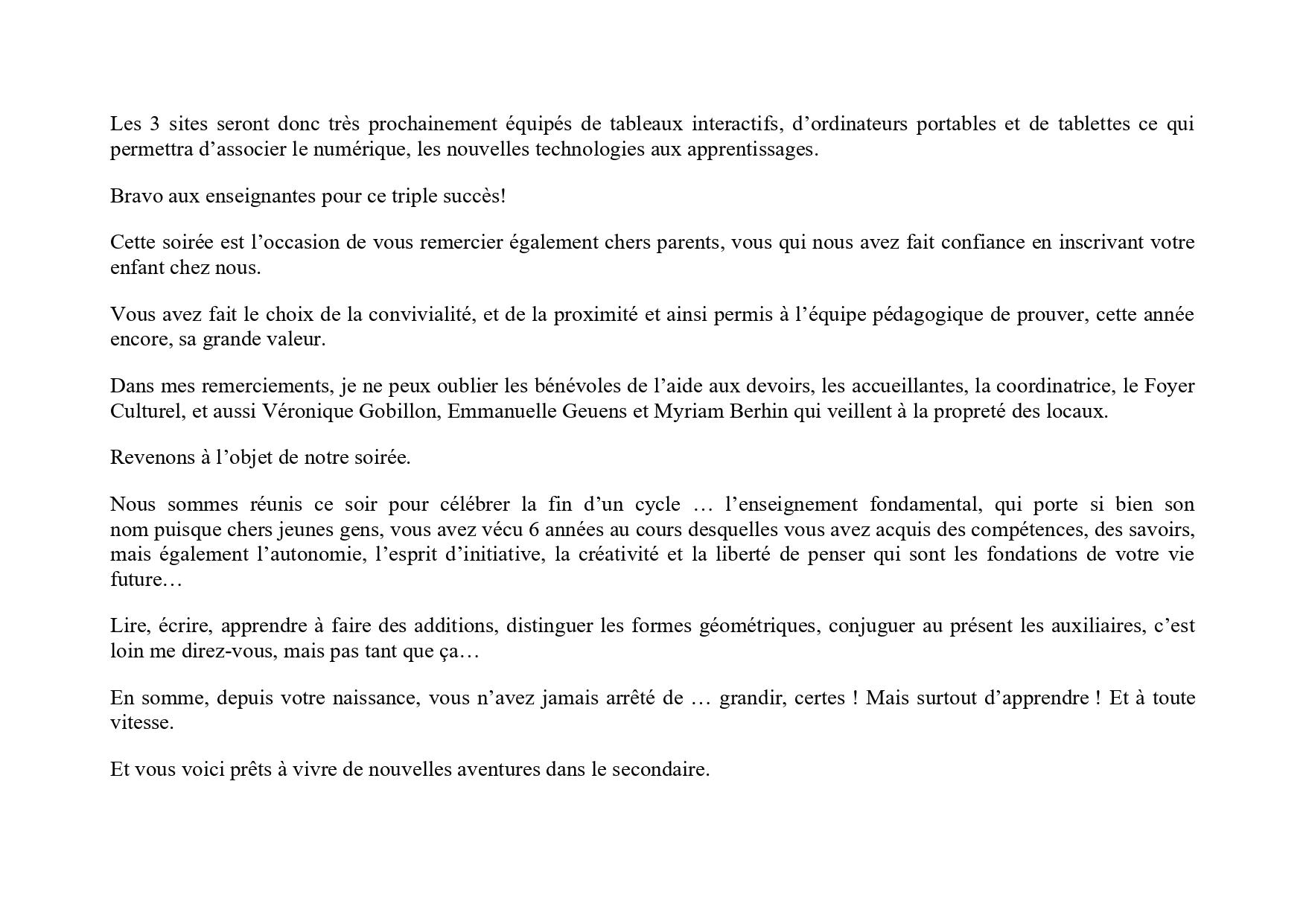 Discours De Madame Caroline Deroubaix Echevine De L Instruction Publique