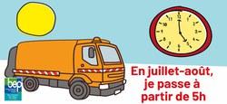 18/05 - Départ anticipé des collectes de déchets pendant l'été à 5h du matin au lieu de 6h ou 7h...